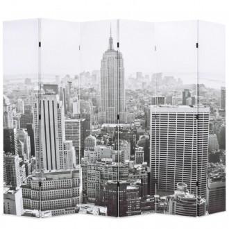 Biombo divisor plegable 228x170cm Nueva York blanco y negro Vida XL