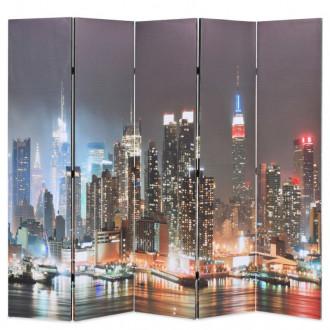 Biombo divisor plegable 200x170cm Nueva York de noche Vida XL