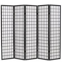 Biombo plegable con 5 paneles estilo japonés 200x170cm negro Vida XL