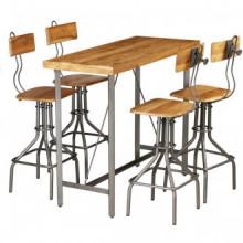 Setesa y sillas de baradera tecaaciza reciclada 5 piezas Vida XL