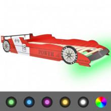 Cama infantil con forma de coche carreras y LED...