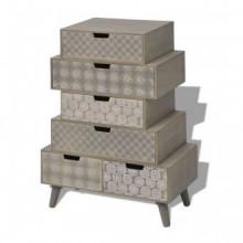 Mueble auxiliar con 6 cajones gris Vida XL