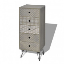 Mueble auxiliar con 5 cajones gris Vida XL