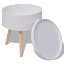 Mesa auxiliar con bandeja redonda blanca...