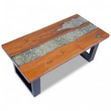 Mesa de centro teca y resina 100x50cm Vida XL