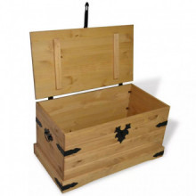 Baúl de almacenaje de madera de pino mejicana...
