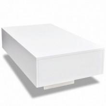 Mesa de centro rectangular blanco con brillo...