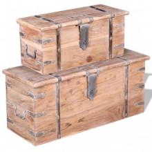 Set de baúl de almacenamiento de madera de...