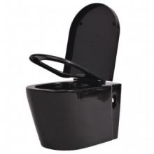 Inodoro de pared cerámica negro Vida XL