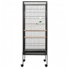 Jaula para pájaros de acero gris 54x54x146 cm...