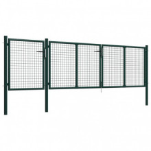 Puerta de jardín de acero verde 400x100 cm Vida XL