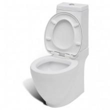 Inodoro WC de cerámica blanco Vida XL