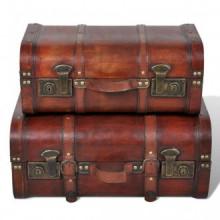 Baúl cofre de madera vintage marrón 2 unidades...
