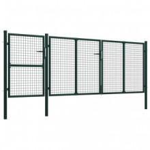 Puerta de jardín de acero verde 400x125 cm Vida XL