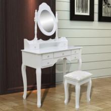 Tocador con espejo y taburete 7 cajones blanco...