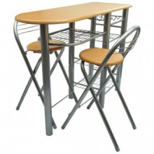 Mesa alta de cocina con taburetes madera Vida XL