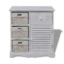 Mueble de almacenaje de madera con 3 cestas...