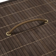 Cesto de la ropa de bambú rectangular marrón...