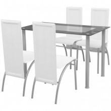 Conjunto de Comedor Cuero Artificial de Cinco Piezas de Color Blanco Vida XL
