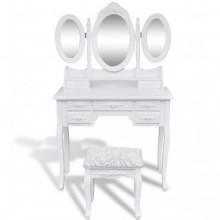 Tocador con taburete y 3 espejos blanco Vida XL
