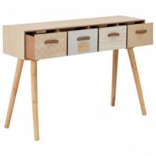 Mesa consola con 4 cajonesmaderamaciza de pino...