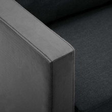 Sofá de 2 plazas de cuero sintético negro y...