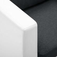 Sofá de 2 plazas de cuero sintético blanco y...
