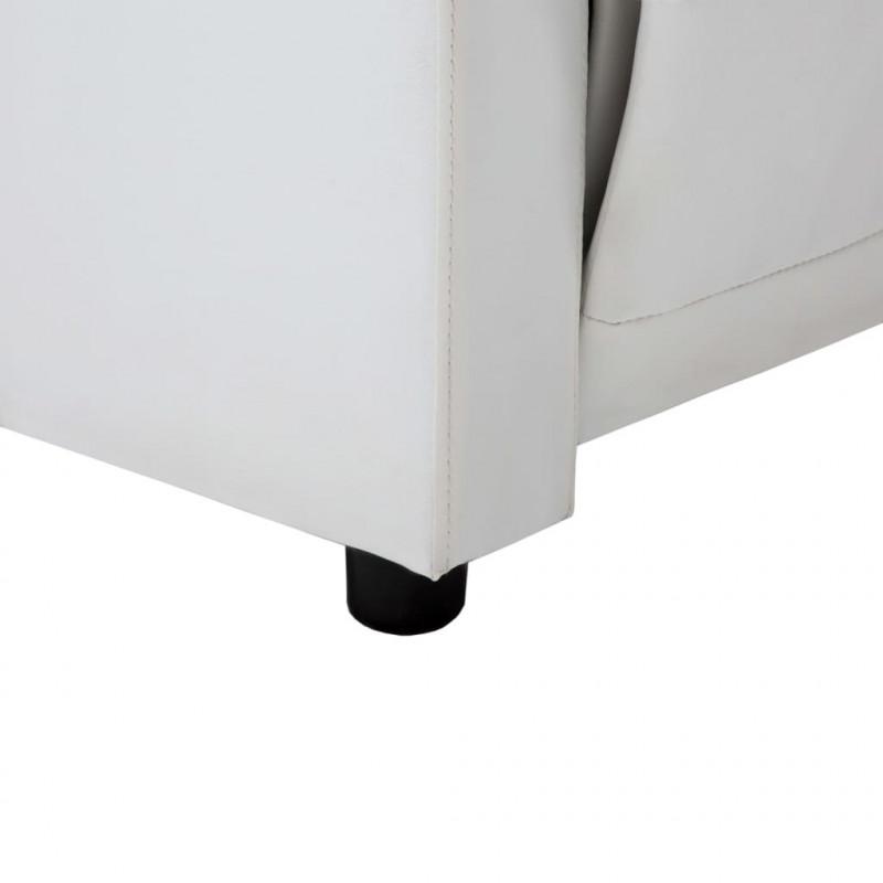 Sofá reclinable en forma de L de cuero sintético blanco ...