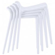 Taburetes apilables 4 unidades plástico blanco...