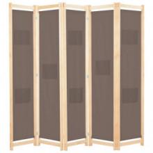 Biombo divisor de 5 paneles de telamarrón 200x170x4cm Vida XL