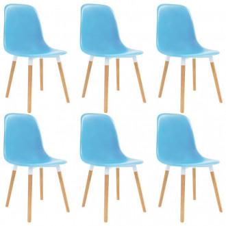 Sillas de comedor 6 unidades plástico azul Vida XL