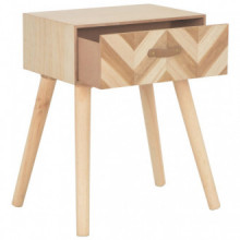 Mesita de noche con cajón de madera maciza...