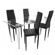 4 sillas negras comedor Slim Linemesa de vidrio...