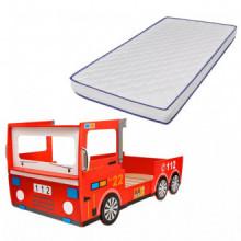 Cama de camión de bomberos con colchón...