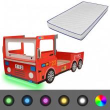 Cama de niños coche de bomberos LED colchón de...