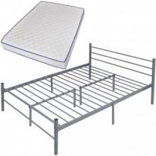 Cama con colchón viscoelástico metal gris...