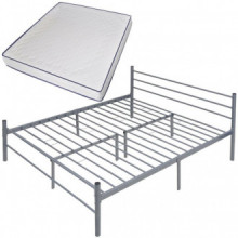 Cama doble con colchón viscoelástico metal gris...