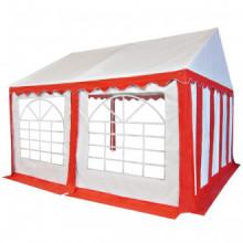 Carpa de jardín de PVC 4x4 m rojo y blanco Vida XL