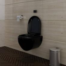 Inodoro de pared con cisterna cerámica negro...