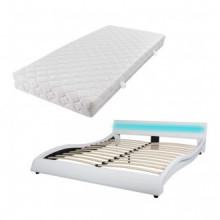 Cama con colchón y LED cuero sintético blanca...