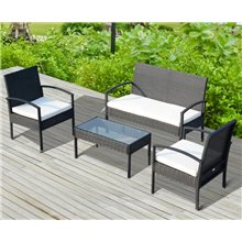 Conjunto de sillones y mesa 4 piezas Outsunny