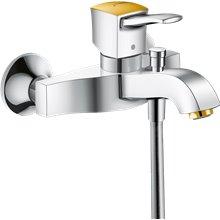 Grifo de bañera manecilla plana cromo y oro Metropol Classic Hansgrohe