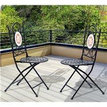 Conjunto de 2 sillas plegables negras Outsunny