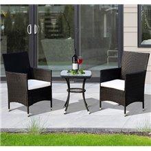 Conjunto de 2 sillas y mesa Ratán negro Outsunny