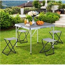 Conjunto de camping de mesa y 4 sillas Outsunny