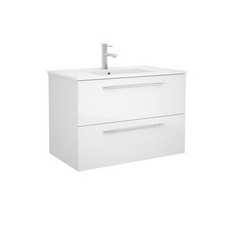 Mueble 81cm Blanco Brillo 2 cajones FUSSION CHROME SALGAR