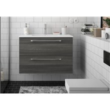 Mueble 81cm Gris Brillo 2 cajones FUSSION CHROME SALGAR