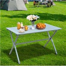 Mesa de camping plegable blanca Outsunny