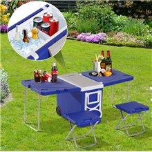 Conjunto de camping de nevera convertible en mesa Outsunny
