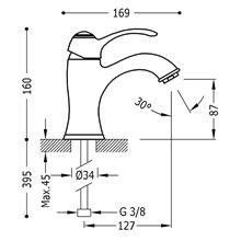 Grifo de lavabo cromado TRES-CLASIC